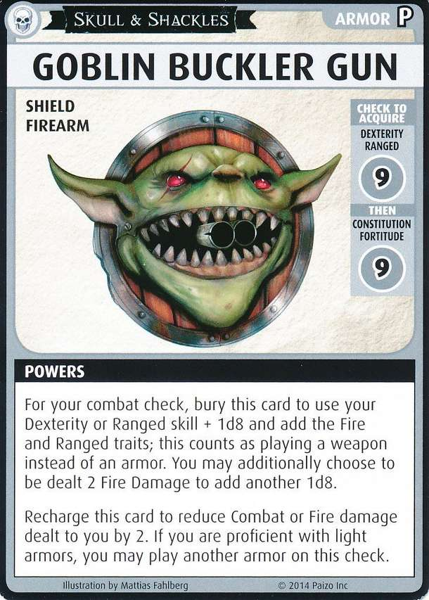 "Pathfinder Adventure Card Game: Skull & Shackles – ""Goblin Buckler Gun"" Promo Card"