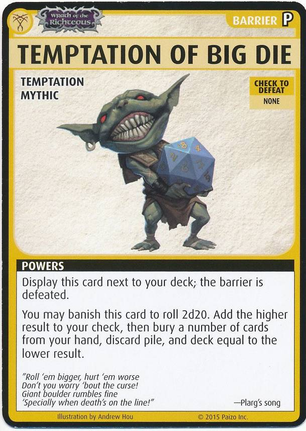 "Pathfinder Adventure Card Game: Wrath of the Righteous – ""Temptation of Big Die"" Promo Card"