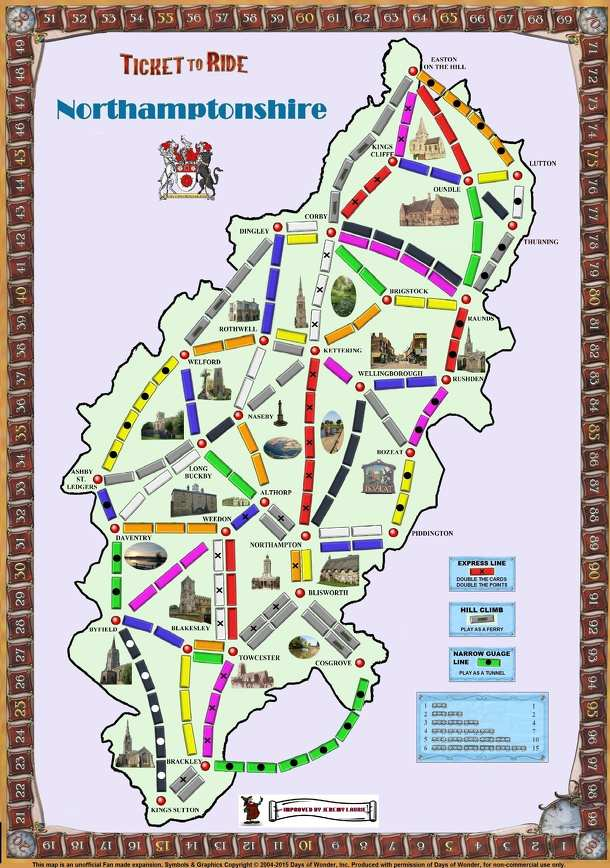 Northamptonshire (fan expansion to Ticket to Ride)