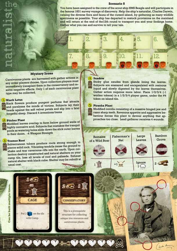 Viaggio Verso l'Isola Maledetta: The Naturalist (fan expansion to Robinson Crusoe – Adventures on the Cursed Island)