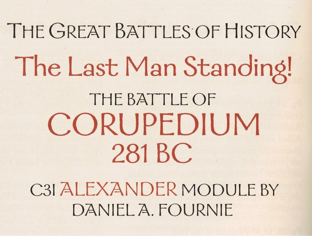 Alexander Battle Module: The Battle of Corupedium, 281 BC