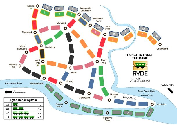 Ticket to Ryde: The Game (fan expansion of Ticket to Ride)