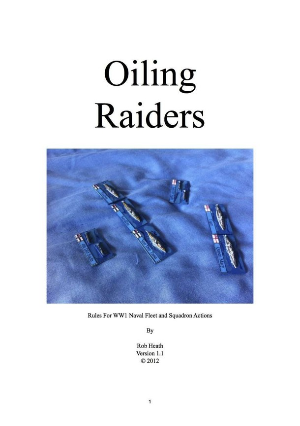 Oiling Raiders: Rules for WWI Naval Fleet and Squadron Actions